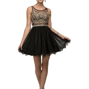 Gold lace top Short Homecoming Dress   DQ9518