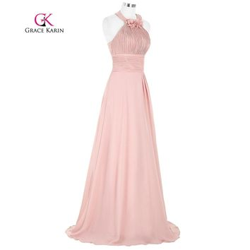 Elegant Evening Dress 2017 New Arrival Long Formal Gown Pink Vestidos Flowers Decorate Grace Karin Special Occasion Dresses
