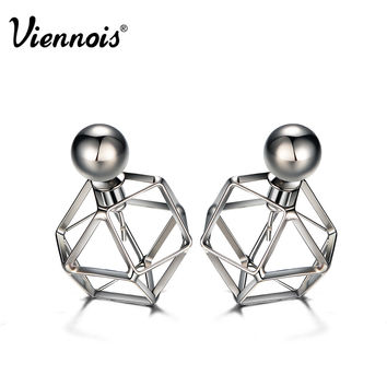 Viennois Brand New Gun Plated Stud Earrings for Women Vintage Geometric Double Side Earrings Hollow Out Front/Back Earrings