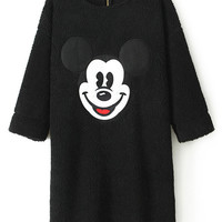 ROMWE | ROMWE Mickey Mouse Print Black Dress, The Latest Street Fashion