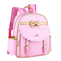 Kids Girls Princess PU Leather Backpack Pink Cute Bowknot Children Primary School Backpacks Daypack Mochila Bag