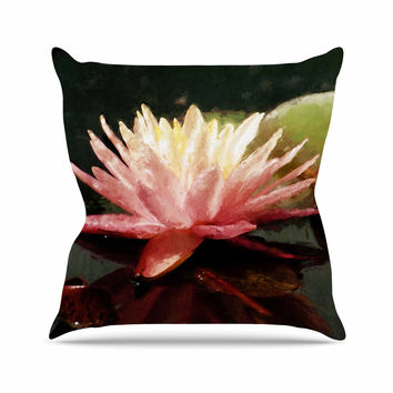 "Cyndi Steen ""Painted Water Lily"" Pink Floral Throw Pillow"