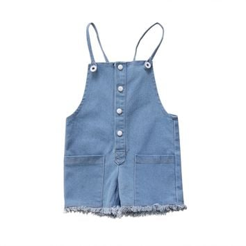 Baby Rompers Newborn Kids Baby Girls Denim Romper Sleeveless Jumpsuit Pants Outfit Set Summer Fashion Baby Clothes