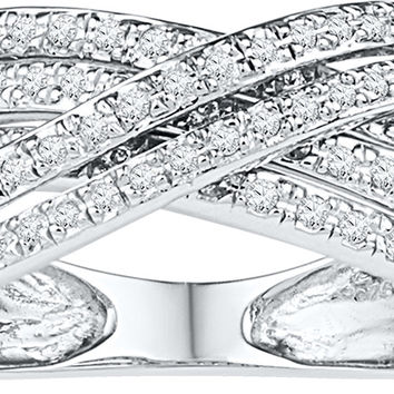 10kt White Gold Womens Round Diamond Crossover Five Row Band Ring 5/8 Cttw 108783