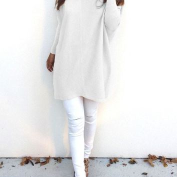 White Plain V-neck Long Sleeve Loose Pullover Sweater