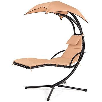 Beige Outdoor Modern Hammock Canopy Porch Swing Lounge Chair