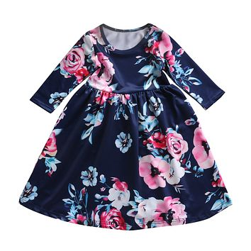 Baby Girl Floral Dress Kid Party Wedding Pageant Formal Long Sleeve Summer Prom  Princess Tutu Dresses 7410d9325c4c
