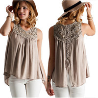 Khaki Back Lace and Strap Detail Sleeveless Shirt
