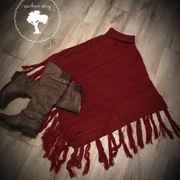 Wine Cable Knitted Poncho