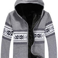 Geometric Knitted Zippered Hooded Cardigan