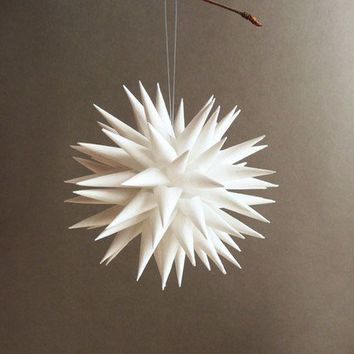 Modern Bright White Decoration Star Urchin Ornament by kissadesign