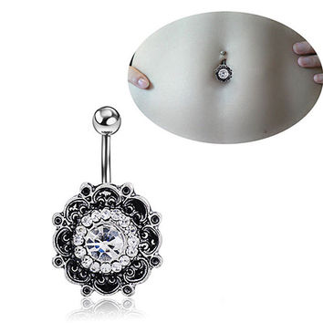 Retro Flower Crystal Navel Belly Button Ring