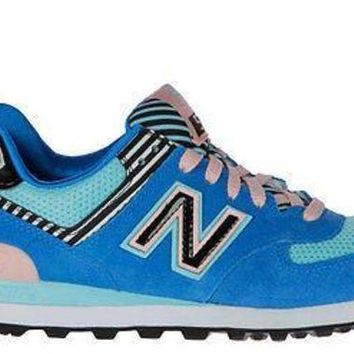 CREYONV new balance womens 574 sneakers palm spring wl574bfl blue pink white
