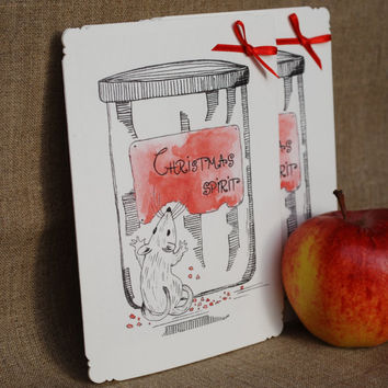 Christmas card: Christmas Spirit In the Jar. Cute and funny little mouse who wants a bite of Christmas spirit, watercolor, ink pen, set of 4