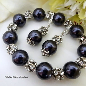 Swarovski Navy Blue Pearl Antique Silver Crystal Bracelet Earring Set Dark Blue Wedding Bridal Bridesmaid Jewelry Mother of Bride Groom Gift