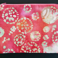 Pretty Pink Batik Zipper Pouch With Circles And Green Lining