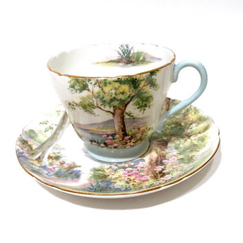 Shelley Woodland Tea Cup  Trees Forest Scene  Pinks Greens Blue Flowers Gold Trim English Bone China Collectible Tea Cup And Saucer Vintage