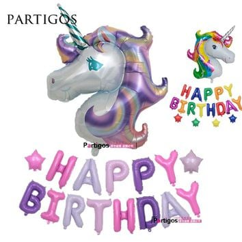 18pcs/lot Rainbow Pueple Unicorn Foil Balloon Happy Birthday Party Decorations 16 inch slim Letter Helium Globos Baby Shower Toy