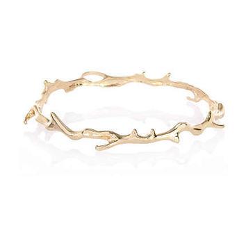 gold tone upper arm twig bracelet