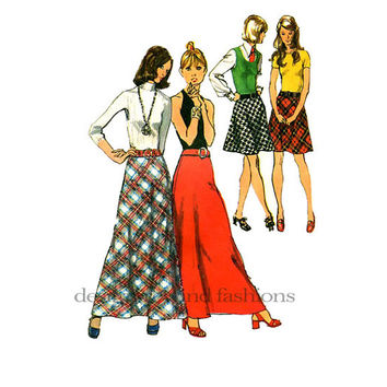 1970s Boho Bias Cut SKIRTS Maxi Mini Lenght Day Career Evening Weekend Simplicity 9957 Vintage Sewing Pattern Waist 28 Hips 38 Size 14 UNCUT