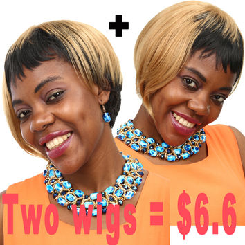 Promotions Natural Hair Short Wigs African American Short Wigs Synthetic Wigs For Black Women Pastel Wig Cheap Sale
