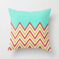BRIGHT RED & GREEN CHEVRON Throw Pillow by Allyson Johnson