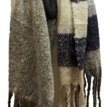 Soft Plaid Scarf with Twisted Fringe