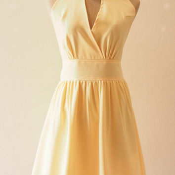 Pastel Yellow Bridesmaid Dress Yellow Cocktail Dress Pale Yellow Dress Elegant Wedding Party Dress, Yellow Prom Evening Dress - XS-XL,custom