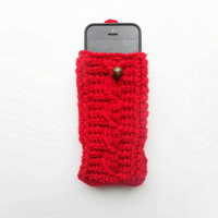 Cable Stitch iPhone Cozy in Red, ready to ship.