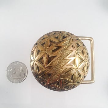 Grateful Dead, Brass Flower of Life Belt Buckle with 13 Point Bolt (large), Sacred Geometry