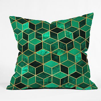 Elisabeth Fredriksson Emerald Cubes Throw Pillow