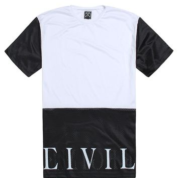 Civil Regime Mesh Block Jersey Shirt - Mens Tee - White