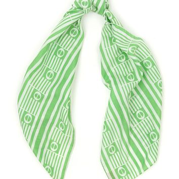 csv10681 - Vintage Ray Strauss Logo Long Silk Scarf