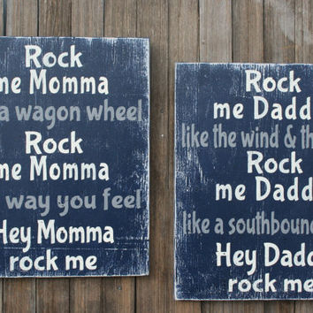 Rock Me Mama Like A Wagon Wheel Nursery Sign Boys Nursery Girls Nursery Vintage Nursery Western Nursery Navy Blue Nursery Distressed Wood