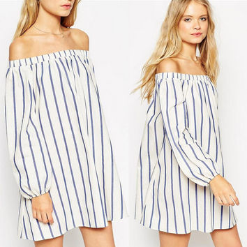 Stripe Off Shoulder Loose Dress
