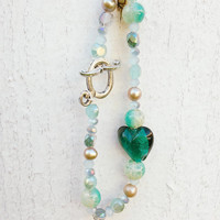 Turquoise Bracelet with Green Heart, Bohemia Crystal bracelet with freshwater pearls, bead bracelet