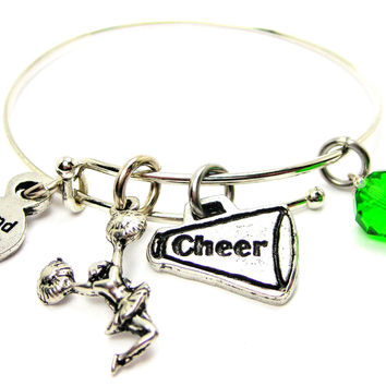 Jumping Cheerleader With A Cheer Horn Bangle Bracelet