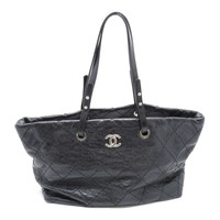 Chanel Quilting Calfskin Leather Shoulder Bag Black 3389