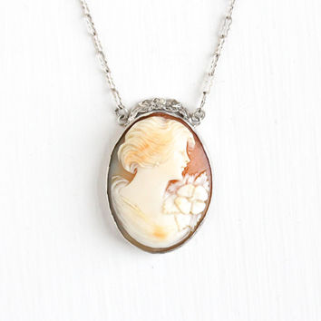 Vintage Art Deco Sterling Silver Cameo Necklace - 1930s Carved Shell Woman Silhouette Classic Flower Lavalier Pendant Jewelry