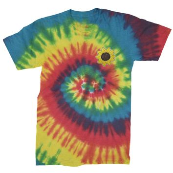 Embroidered Sunflower Patch (Pocket Print) Mens Tie-Dye T-shirt