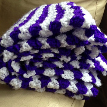 Hand Crocheted Purple and White Blanket, Lap Blanket, Throw, Wrap, Handmade Blanket, Purple Throw