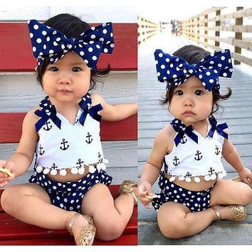 3pcs Baby Girl Sunsuit Anchor Tops+Navy Polka Dots Briefs Outfits Set 2016