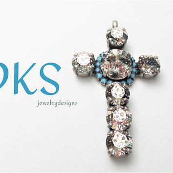 Swarovski Cross Pendant, Rose Patina, Turquoise, 8mm, Ant Silver, DKSJewelrydesigns, FREE SHIPPING