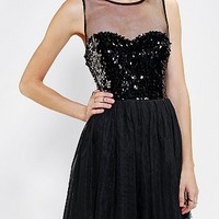 Pins And Needles Mesh Sequin Fit & Flare Dress - Urban Outfitters