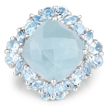 A 10.99CT Cushion Cut Natural Blue Aquamarine & Blue Topaz Ring