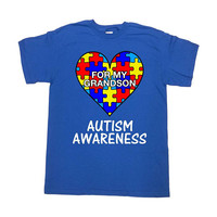 Autism Support Shirt Puzzle Piece Grandpa T Shirt Grandma TShirt Autism Spectrum World Autism Day Support Gifts Mens Ladies Tee - SA1038