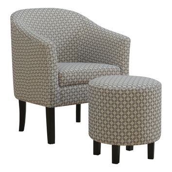 Accent Chair - 2Pcs Set / Dark Grey Geometric Fabric