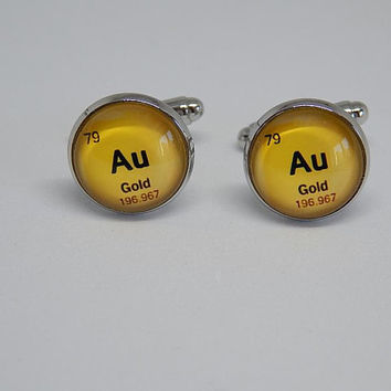 Periodic table element Gold cufflinks, mendeleev's table element Gold, aurum cufflinks, aurum jewelry, Chemistry Periodic Table cuff link