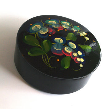Russian Jewelry Box Round Wooden, Vintage Black Ornament Wood Box, Hand painted Treasury Box, Folk Trinket Box Rosemaling Made in Russia 70