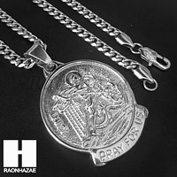 Mens Iced Out 316L Stainless steel Silver Saint Micheal Angel Pendant SS019